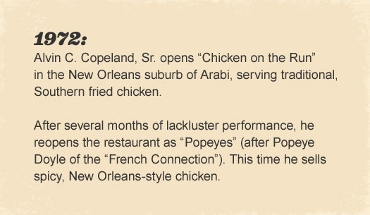 "Alvin C. Copeland, Sr. opens ""Chicken on the Run"" in the New Orleans suburb of Arabi, serving traditional, Southern fried chicken."
