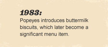 Popeyes introduces buttermilk biscuits, which later  become a significant menu item.