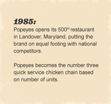 Popeyes opens its 500th restaurant in Landover, Maryland, putting the brand on equal footing with national competitors. Popeyes becomes the number three quick service chicken chain based on number of units.